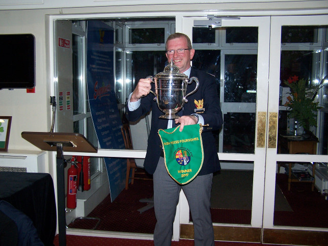 Captain Tony Flanagan arrives with Cup and Pennant