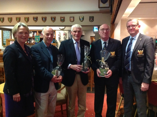 Winners Tom Heery John Hopkins and P J Horan with Captains Olive and Tony