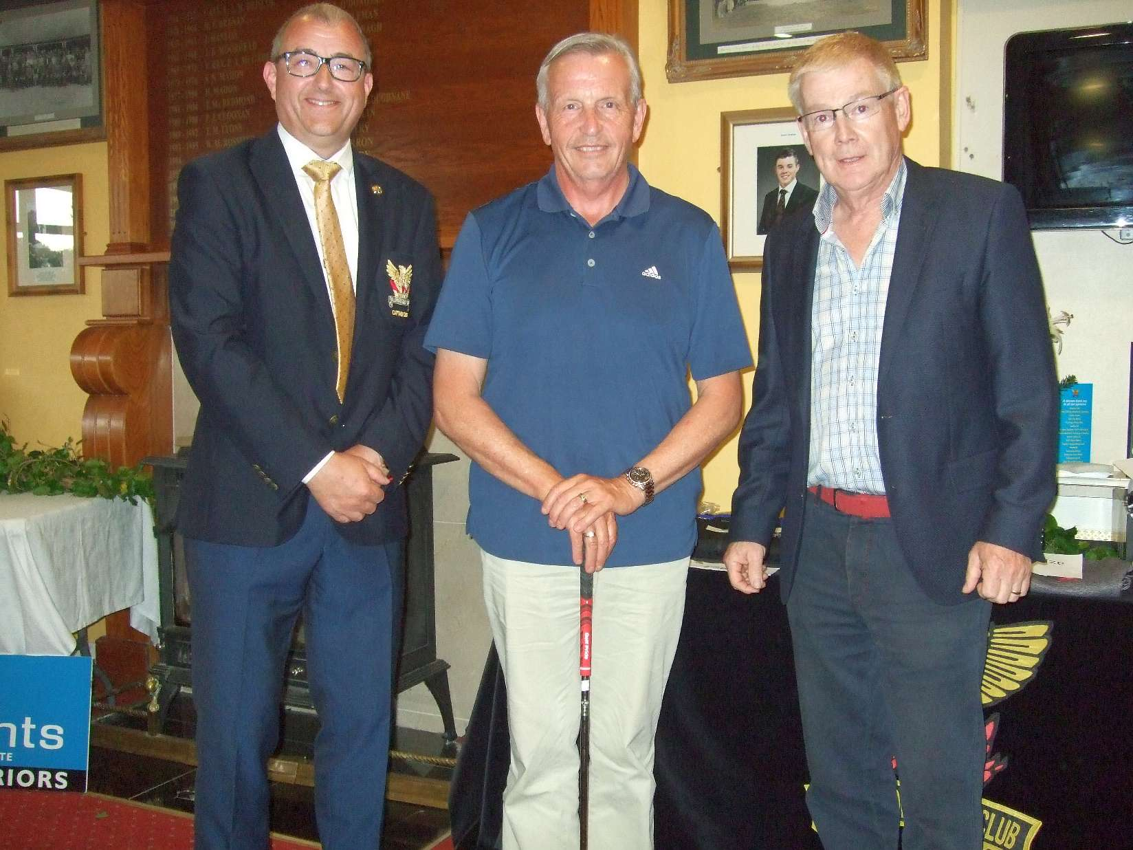 Dave Lawlor representing his son Dan who was 2nd in the Lambe Oil Prize with Peter Waters representing the Sponsors and Captain Brian Gunning