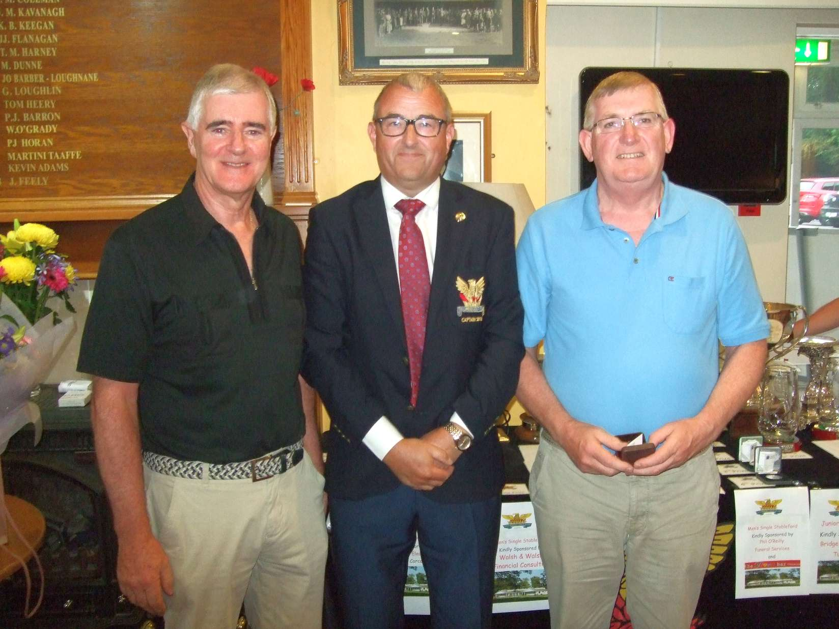 John Cantwell 2nd in the Walsh & Walsh Financial Consulting prize with Tom Walsh and Captain Brian Gunning