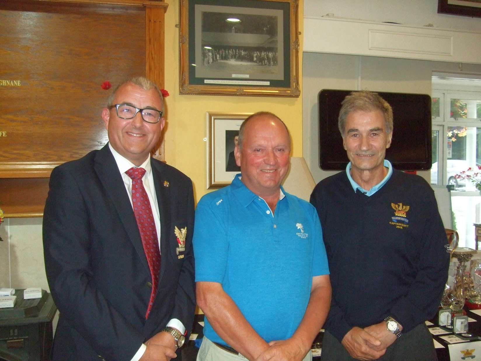 Michael Egan 2nd in Captain Elect Pat Corcoran's Prize   with sponsor Pat and Captain Brian Gunning