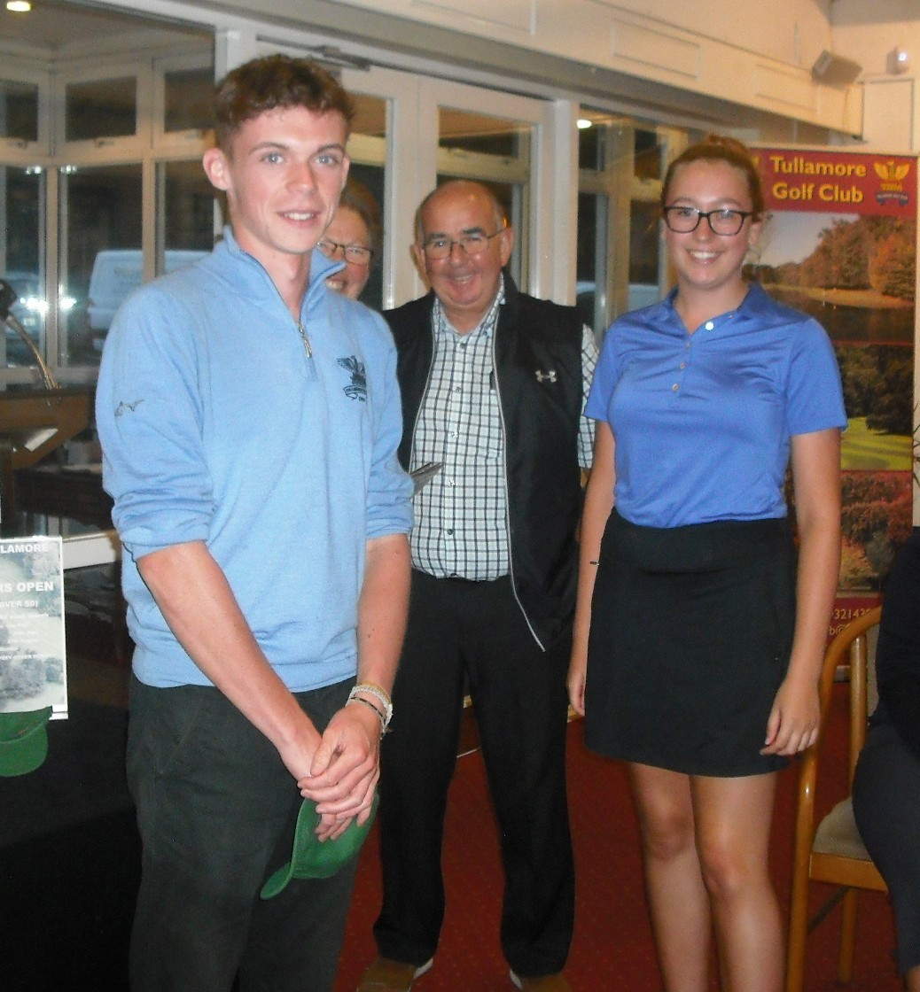 Junior captains Joanne and Callum with Sponsor Ollie McLoughlin