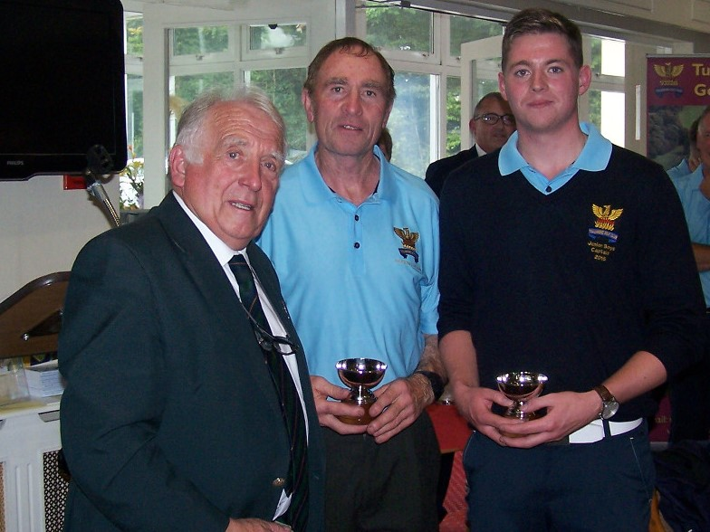 Pat Corcoran and Matthew Grehan with John Ferriter Leinster Golf Chairman