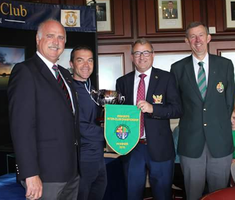 Jim Long Chairman Munster Golf presents pennant to Captain Brian and Team Manager Declan Farrell