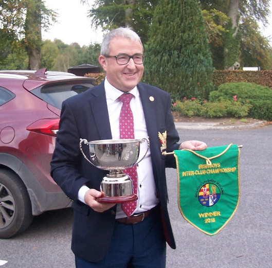 Captain Brian arrives with Cup and All Ireland Pennant