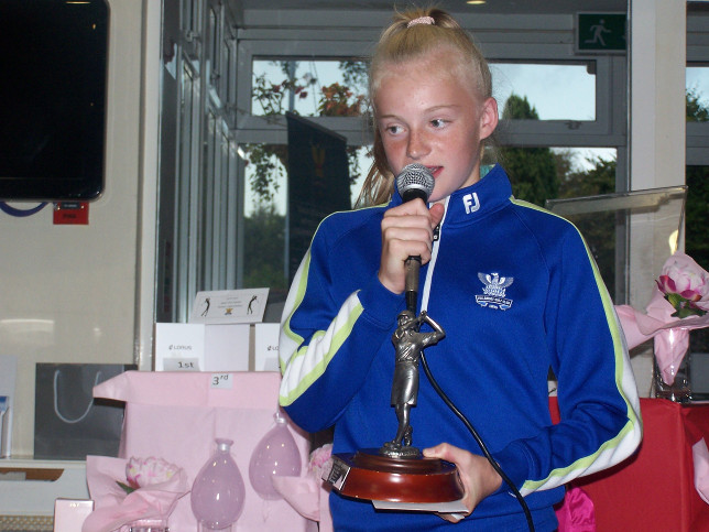 Girls Golfer of the Year Making the acceptance speech