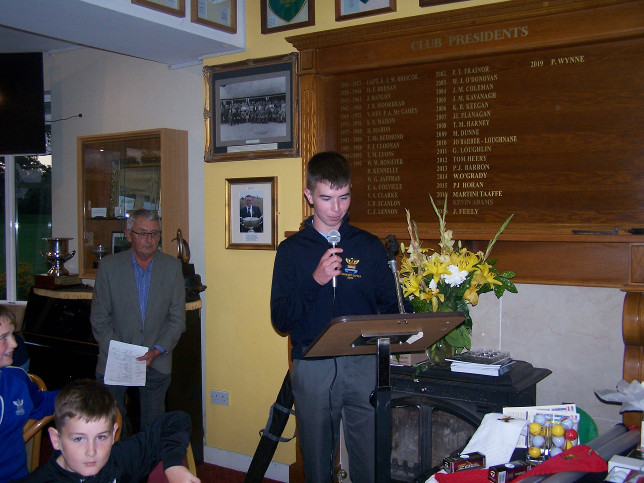 Boys Captain Colm making his speech watched over by Junior Boys Convenor Tim Guiney