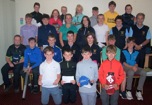 Most of the prizewinners from the September presentation with Junior Captains and Lady Captain Mary Kinsella and Men's Captain Pat Corcoran